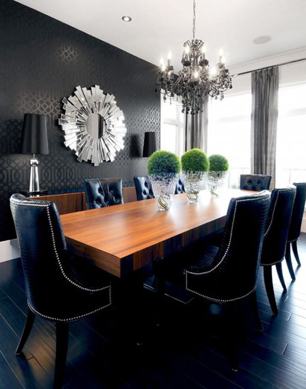 Decorating with Black Walls | LOOK!!! | Dining room, Tufted dining