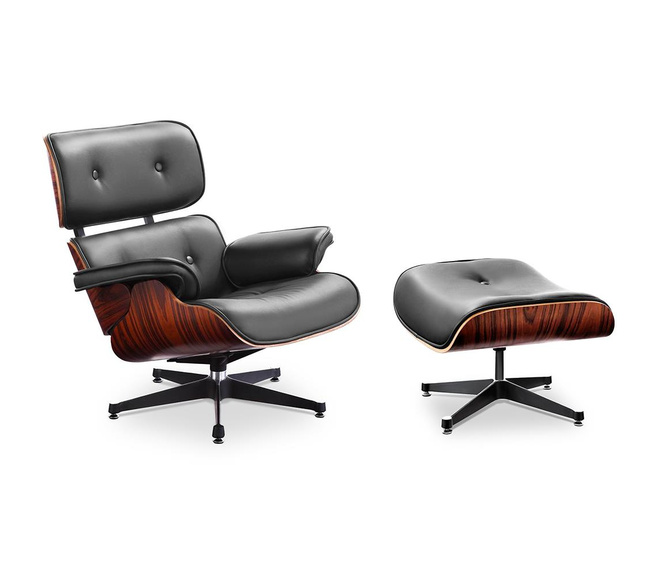XL version) Charles and Ray Eames Lounge Chair with high backrest, &