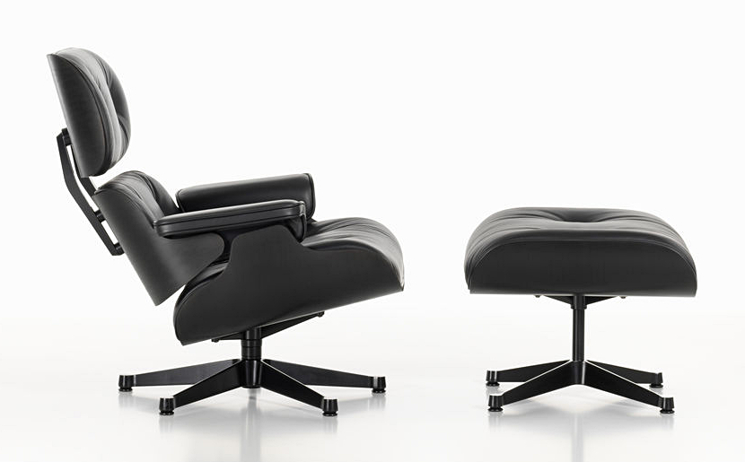 Vitra Lounge Chair & Ottoman - Black Version by Charles & Ray Eames