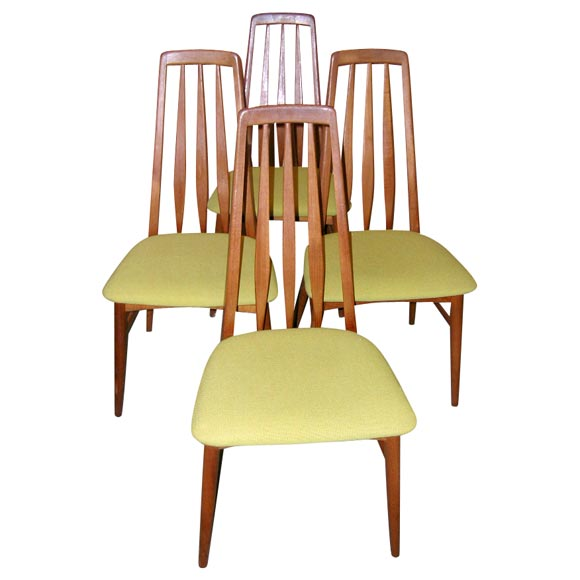 Set of Four Tall Back Danish Modern Dining Room Chairs For Sale at