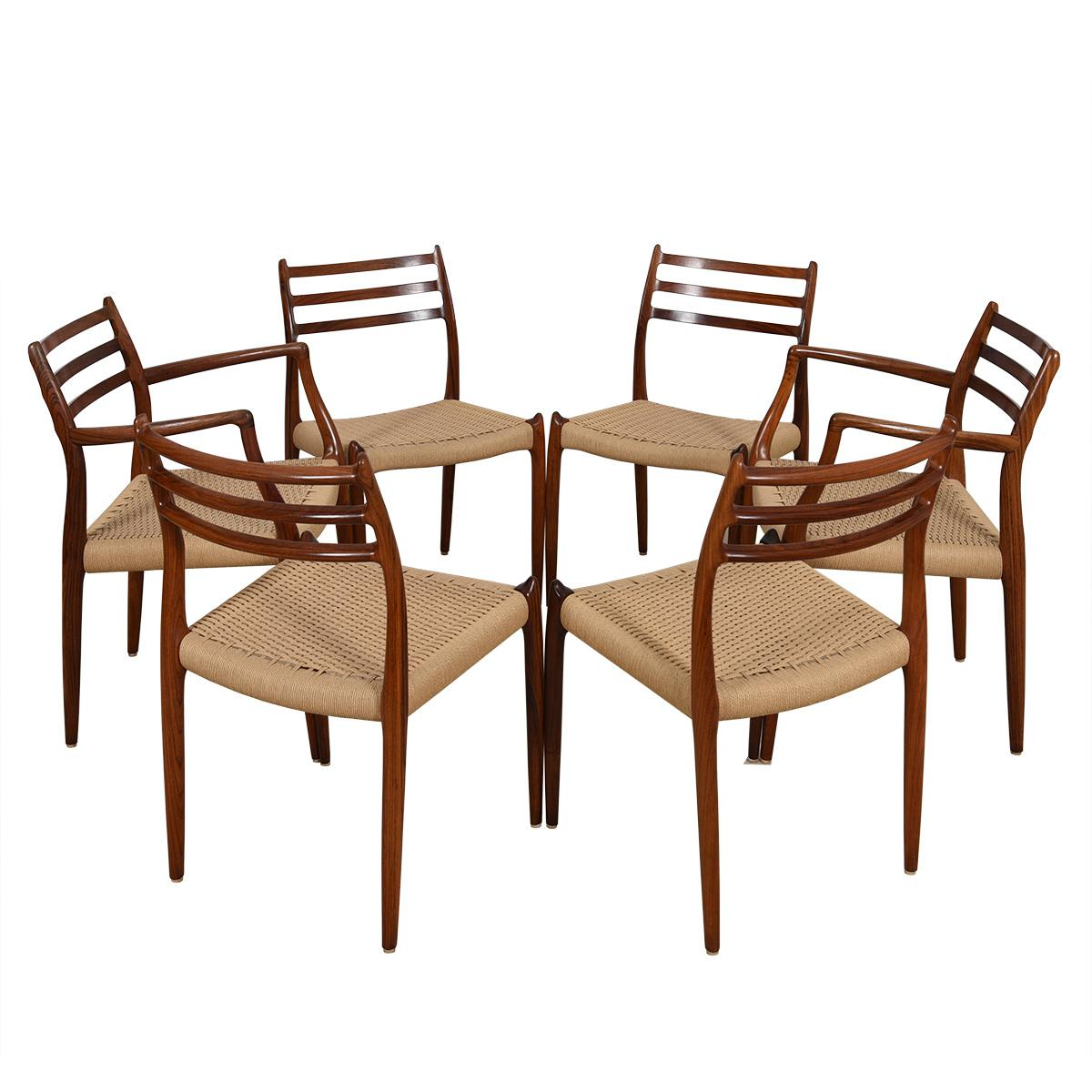 Set of 6 Danish Modern Dining Chairs by Niels Moller in Rosewood