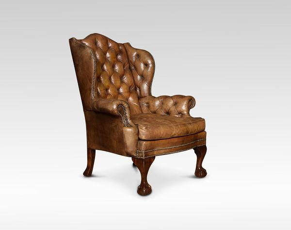 OnlineGalleries.com - Georgian style leather wingback armchair