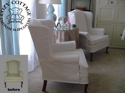 Slip cover wingback chair   DIY in 2019   Slipcovers for chairs