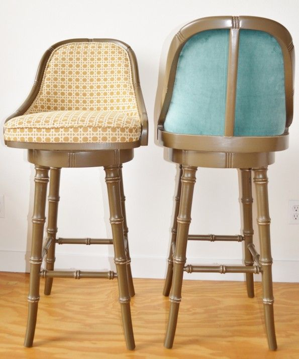 Kitchen : Fabulous Brown Industrial Padded Barstool Feature Yellow