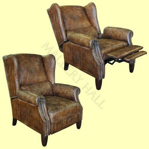 Distressed Vintage Leather Reclining Wing Chair Cigar for US