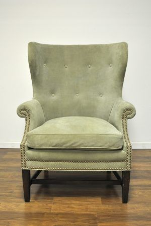 New York Seagrass Suede Fan Back Wing Chair | Furnishings
