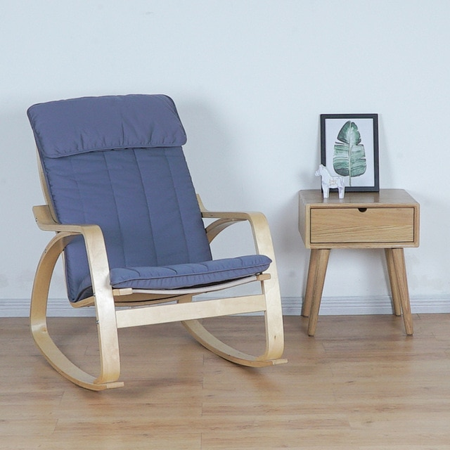 Comfortable Relax Wood Adult Rocking Chair Armchair Living Room
