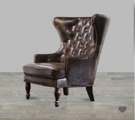 Brompton Chocolate Leather Vintage Wing Back Tufted Back Chair