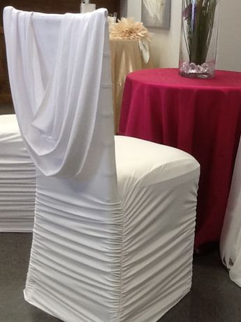 Liking the swoop Gold velvet cowl neck chair cover and c