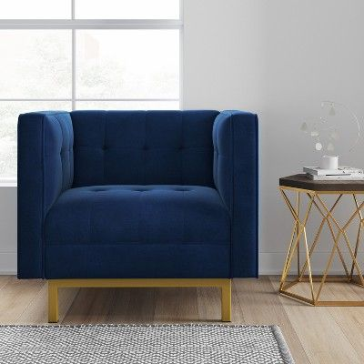 Cologne Tufted Track Arm Chair Navy Velvet - Project 62 in 2019