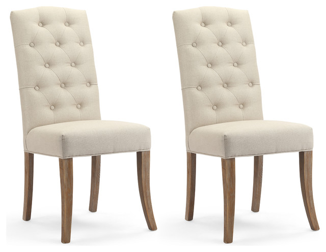 Rochelle Natural Linen Tufted Dining Chairs, Set of 2 - Transitional