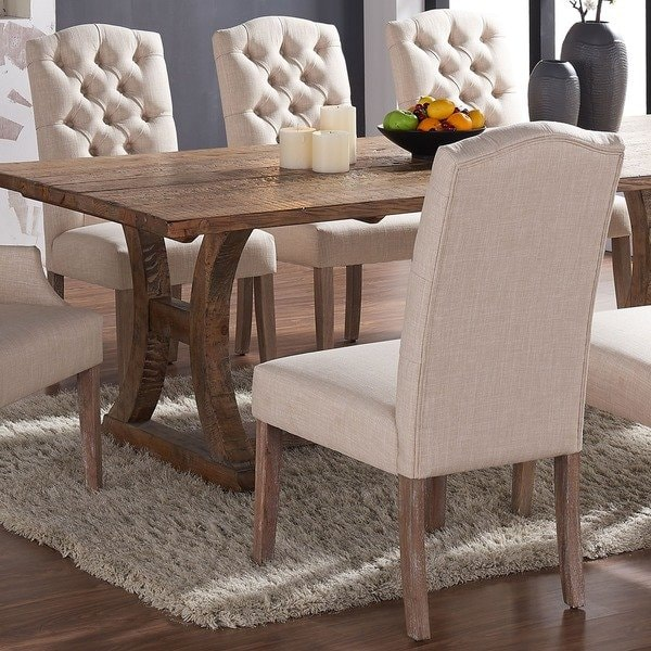 Shop Lucian Set of 2 Linen Button Tufted Dining Chairs - Free
