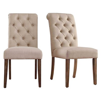 Gramercy Button Tufted Dining Chair Wood/Oatmeal (Set Of 2