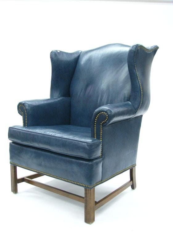 Ethan Allen Leather Wing Chair and Ottoman : Lot 317 | Favorite
