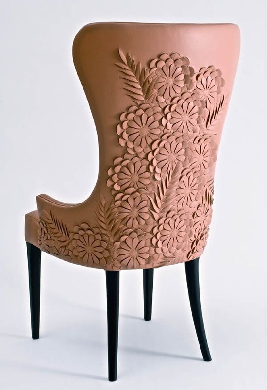 Fantasticly Embellished George III Style Leather Chair by Helen Amy