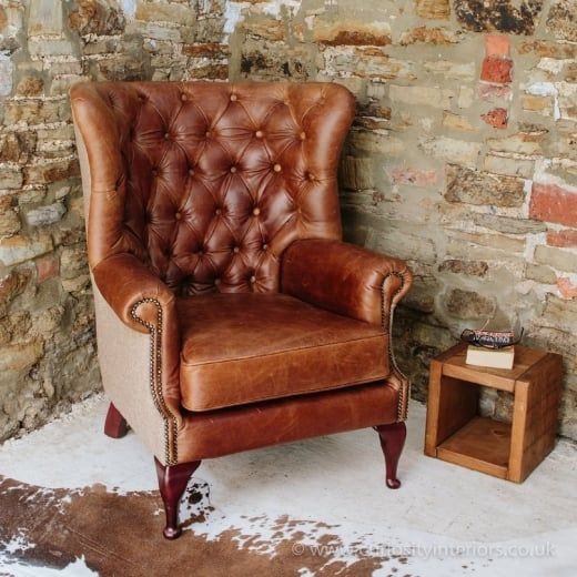 Buy Vintage Leather & Tweed Chesterfield Armchair | Button Back