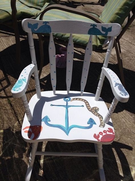 Refinished children's nautical rocking chair. Can be personalized