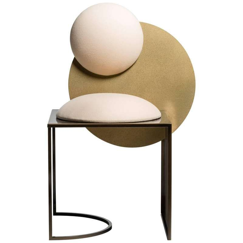 Celeste Chair in White Fabric and Metal, by Lara Bohinc