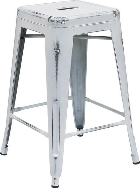 """Flash Furniture ET-BT3503-24-WH-GG 24"""" High Backless Distressed White Metal Ind…"""