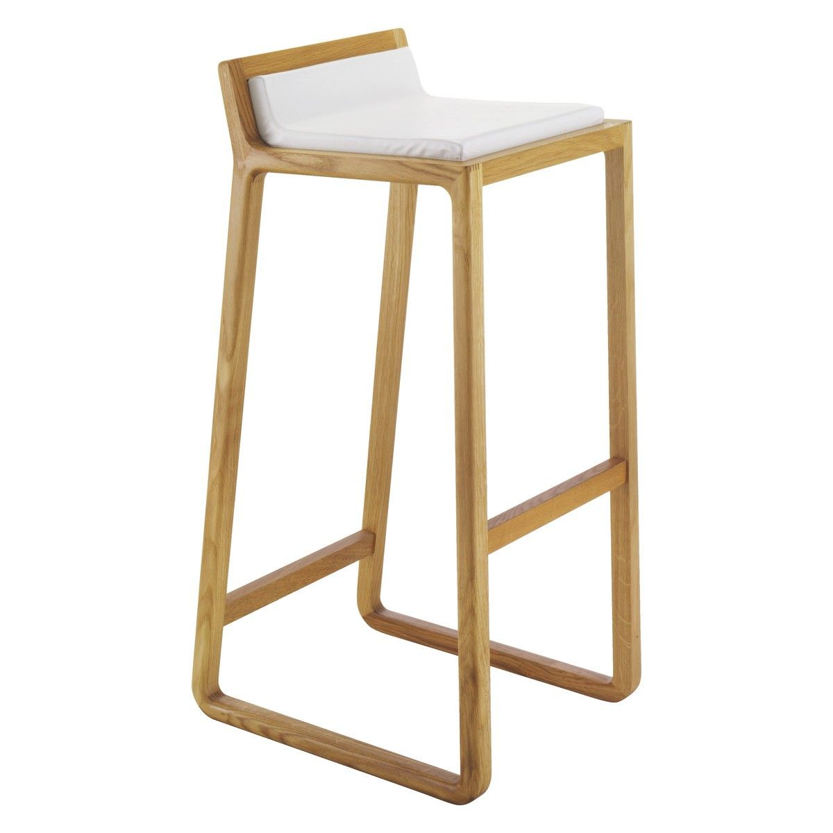 JOE Solid oak bar stool with leather upholstered seat