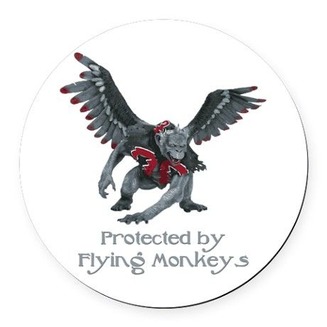 Protected by Flying Monkeys Round Car Magnet by goatlady_GetYerGoat