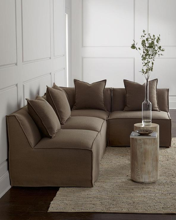 Massoud Carson Armless Taupe Sectional So.