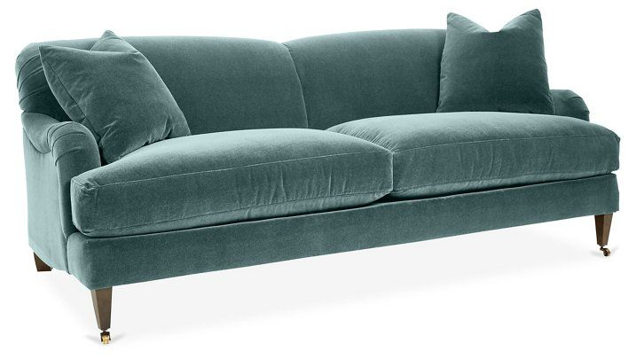 Brampton Sofa, Salbei Samt |  One Kings Lane |  Sofa, grüner Samt.