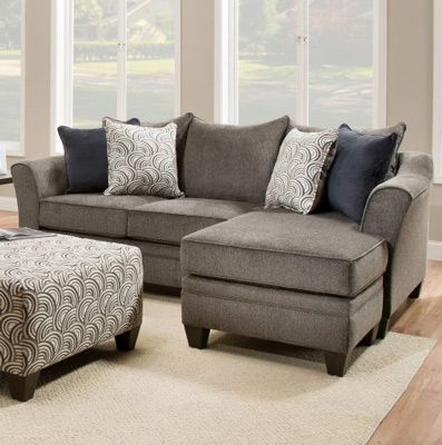 Simmons Polsterung - Albany Sofa Chaise in Zinn - 6485-03SC.