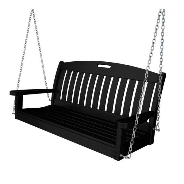 POLYWOOD Nautical 48 Zoll. Black Plastic Outdoor Porch Swing NS48BL.