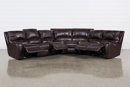 Clyde Dark Brown 3-teiliger Power Reclining Sectional mit Pwr Hdt & Usb.