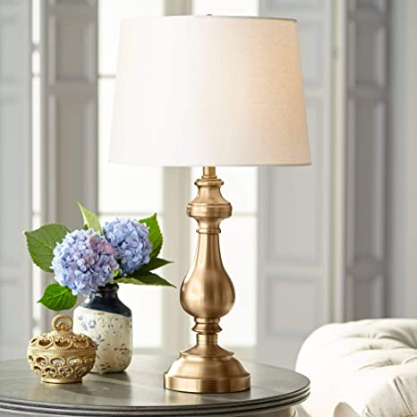 Traditionelle Tischlampe Antik Messing Candlestick White Fabric Drum.