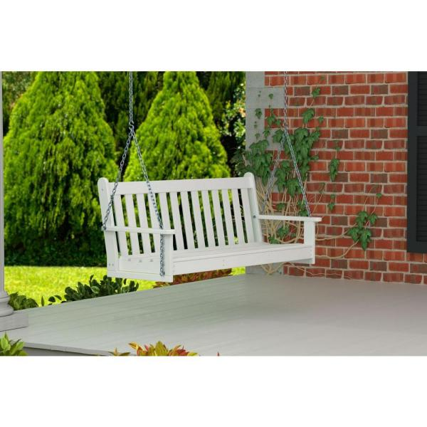 POLYWOOD Vineyard 60 Zoll. White Plastic Outdoor Porch Swing GNS60WH.