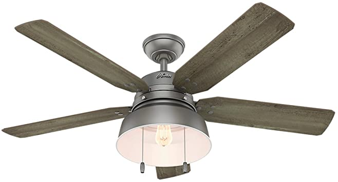 Hunter Indoor / Outdoor Deckenventilator mit Licht und Zugkette.