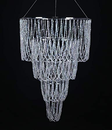 4 Tiers Large Wedding Kronleuchter, Faux Crystal Iridescent Beaded.