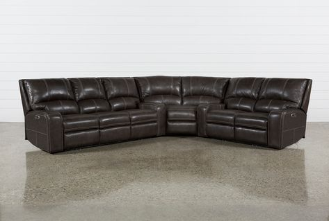 Clyde Grey Leather 3 Stück Power Reclining Sectional W / Pwr Hdrst.
