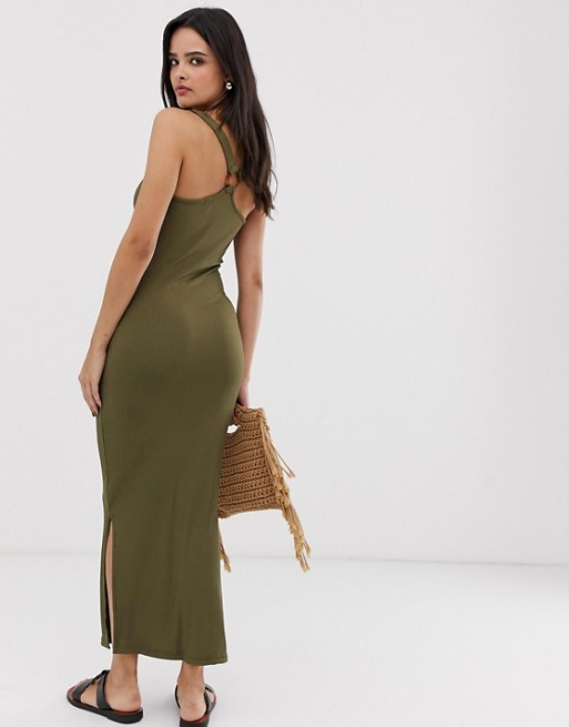 River Island Bodycon Midikleid in Khaki |  WIE
