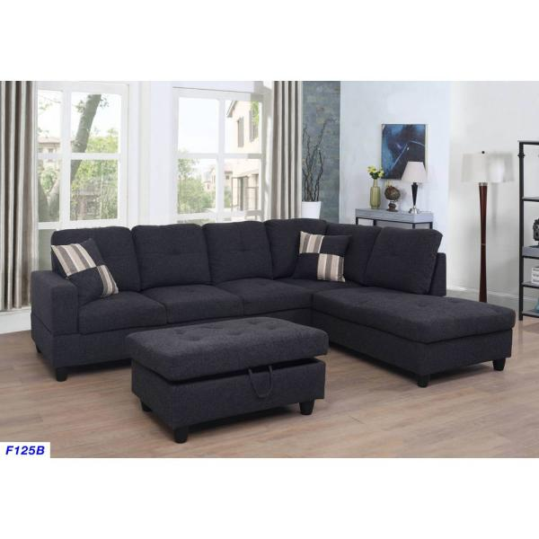 Star Home Living Schwarzes Leinen Left Chaise Sectional mit Lagerung.