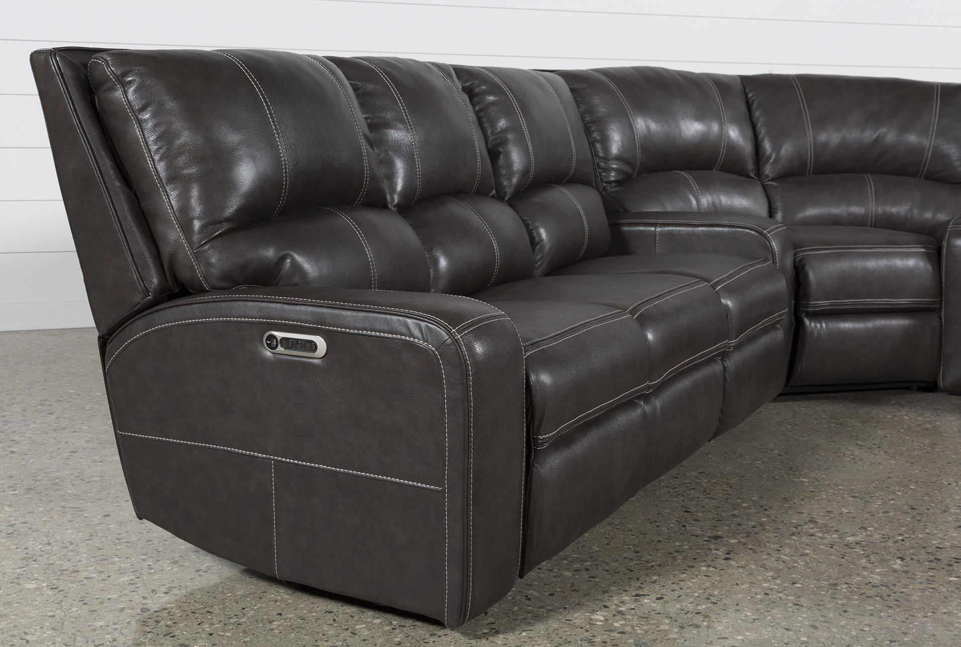 Clyde Grey Leather 3-teilige Power Reclining Sectionals mit Pwr Hdrst Usb